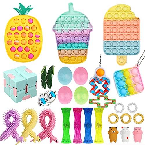 PXIAOPANG Fidget Toys Pack, Sensory Fidget Toys Pack Portable Hand Toys Stress Relief Toys Set with Pop (Fidget Pack G)