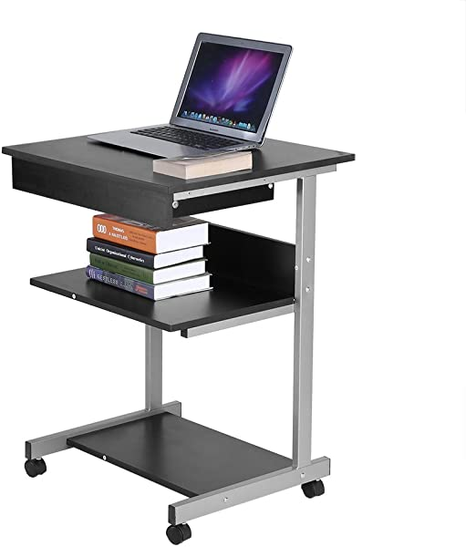 Mobile Computer Desk Wooden Cart Rolling Laptop PC Table With Drawer And Printer Stand For Home Office