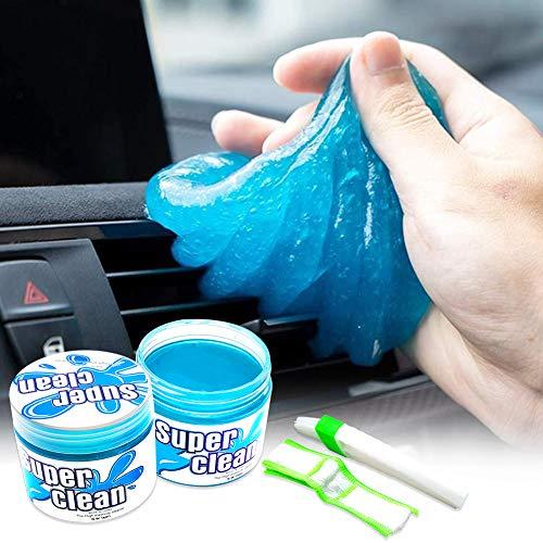 Thinkingwings Gel de limpieza para el interior del coche, respetuoso con el medio ambiente, suave y flexible, limpiador universal de polvo, para coche, ordenador, impresora, cámara (2 unidades)