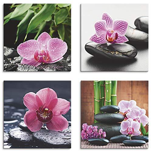 Artland Leinwandbilder auf Holz Wandbild Bild Set 4 teilig je 20x20 cm Quadratisch Wellness Zen Pflanze Pink Rosa Orchidee Stein Tropfen Spa S6MH