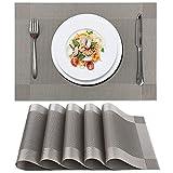 Tischläufer Grau Modern Tischset, Tischläufer Grau 6er Set, Platzset Abwischbar Platzdeckchen, rutschfest Tischsets Abwaschbar, PVC Abgrifffeste Hitzebeständig Platzsets