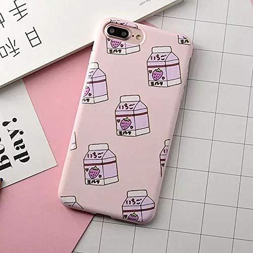 KNGYUTF beschermhoes voor telefoon, kleurrijk, Korea, melkflessen, voor iPhone 6/6 / S Plus / 7 Plus / 7 Plus, schattig, aardbeien, dranken Pour iPhone 8Plus Roze