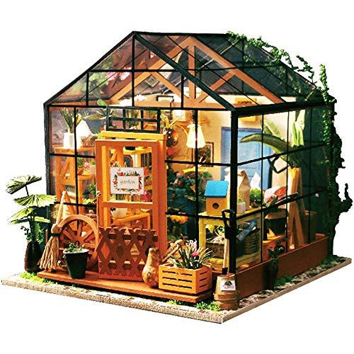 Fikujap Kit de Modelo de casa de DIY 3D - Miniatura de la casa de muñecas con Muebles, Kit de muñecas de Madera DIY Plus Propio DE Polvo Ingenio de Invernadero Miniatura LED Luz Muñecas Casa Build