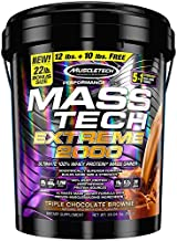 MuscleTech Mass Tech Extreme Mass Gainer Whey Protein Powder, Triple Chocolate Brownie, 22 Pounds