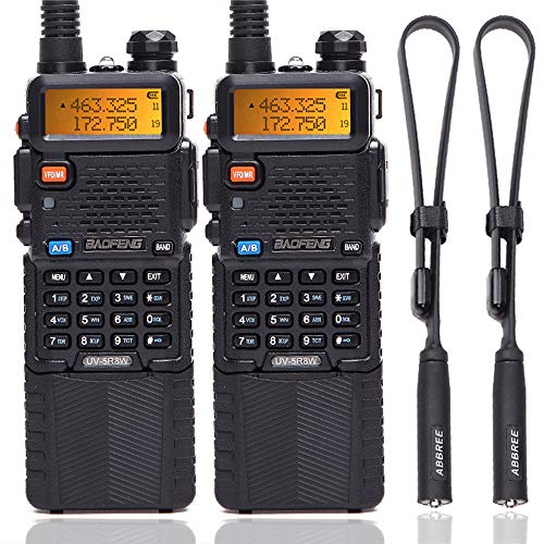"2PACK BaoFeng UV-5R 8W High Power Tri-Power 1W/4W/8W Portable Dual Band Two-Way Radio 3800mAh Battery & ABBREE Tactical Antenna (2pcs 5R8W+18.89"")"