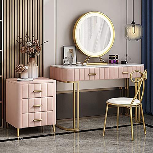 Schminktisch Beistelltisch, Schlafzimmer Schminktische MDF Marmor Arbeitsplatte Make-up Tisch mit Kosmetik Schubladen & Schmetterling gepolstert Hocker