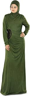 MyBatua Women's Muslim Dress Zahirah Fancy Jersey Abaya in Green