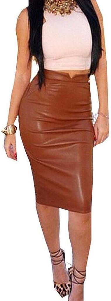 FranterdWomen Faux Leather Skirt High Waist Slim Party Pencil Skirt