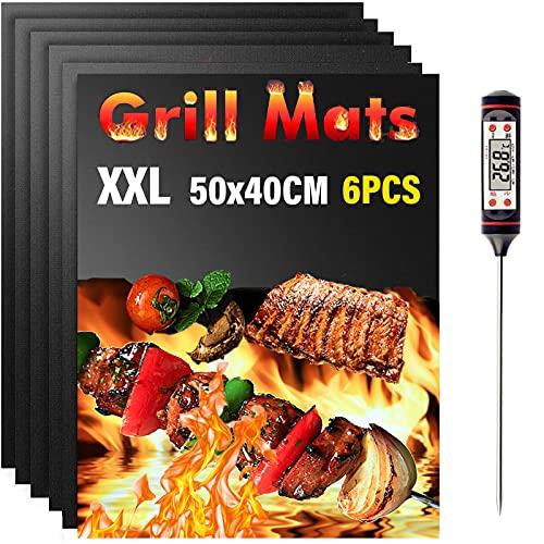 Nifogo Grillmatte 6er Set - Grillmatten für Gasgrill/Holzkohlegrill Extra Dick 0.25mm Antihaft für Grill und Backofen, Kostenlos 1 Grillzange und 1 Silikonbürste (B-50 * 40cm)