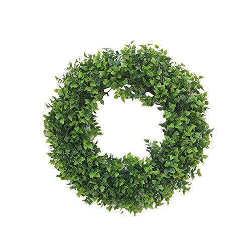 YNGJUEN Künstliche Green Leaf Garland 40cm Holz Garland Grün Haustür Garland hängende Wand-Fenster-Partei-Dekoration