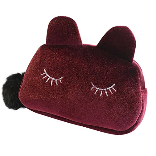 Portable Dessin animé de chat étui de rangement de pièce de monnaie de voyage maquillage Flanelle Pouch Trousse cosmétique