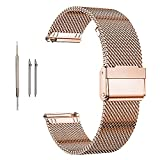 Moran Stainless Steel Mesh Watch Band Quick Release Replacement Strap 18mm 20mm 22mm for Men Women (Rose Gold,18mm)