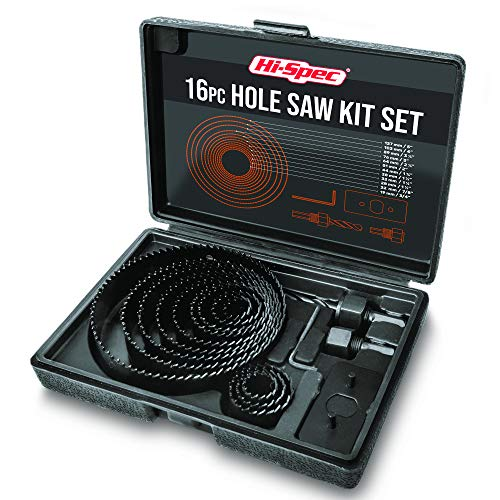 Hi-Spec 16 Piece Hole Saw Set (3/4-5in). 12 Blades & 4 Accessories for Cutting Out Holes & Discs in Wood, Plastic, PVC & Drywall. Stored in a Compact Case