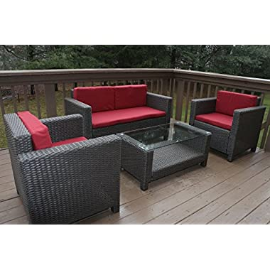 Oliver Smith - Large 4 Pc Modern Rattan Wiker Sofa Set Outdoor Patio Furniture - Aluminum Frame with Ottoman - 1127 Red