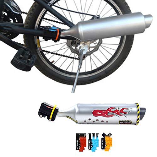 HOMYY Fahrrad Auspuffrohr, Fahrrad-Turbo-Auspuffrohr-Motorrad-Soundsystem, Turbospoke Auspuffanlage, Fahrrad Auspuff Laut System, Speichensound-Maker-Karten-Radsport-Kit für Kinder(Silber)