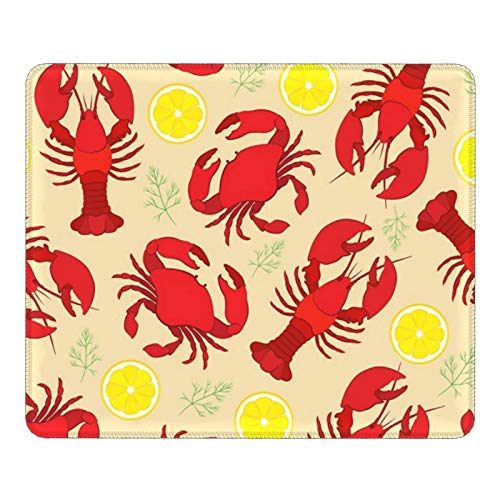 Mouse Pad Non-Slip Rubber Base, Red Lobster and Crab Lemon Mouse Mat with Stitched Skin-Friendly Edges for Gaming, Working, Studying