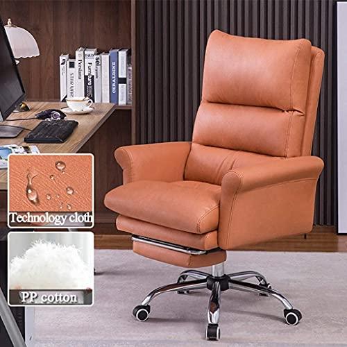 Silla ejecutiva de la oficina de la oficina Silla giratoria del apoyabrazos, sillas de escritorio de oficina reclinable ajustables con reposapiés, taburete de sofá perezoso de cuero marrón con Hight-B