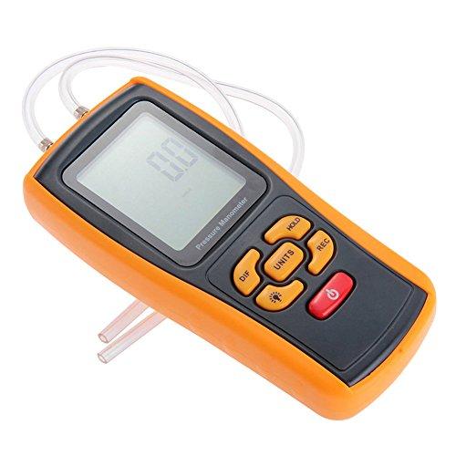 RGBS tragbarer USB-Digital-Tester mit LCD-Monitor, Druckmanometer, Differenzdruckmessgerät, 11 Messeinheiten, Messbereich 10 kPa, für Gebläsedruck, Windgeschwindigkeit, Ofendruck, Hydrauliksystem