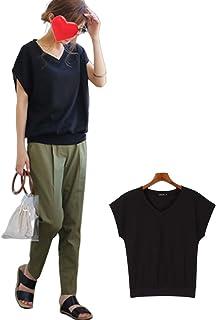 GloryStar Tシャツ レディース 半袖 ニットソー Vネック フレンチスリーブ 涼しげ トップス かわいい 薄手 体型カバー 3色 S~L展開