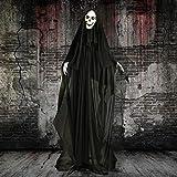 Haunted Hill Farm HHSKEL-3FLSA Life-Size Animatronic Reaper, Indoor/Outdoor Halloween Decoration, Multi
