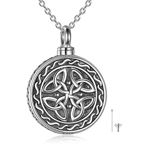 Celtic Knot Urn Necklace for Ashes 925 Sterling Silver Cremation Jewelry for Ashes Keepsake Necklace Jewelry Irish Gifts for Women