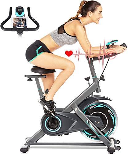 ANCHEER Bici da Spinning Cyclette con Volantino di Inerzia 18 kg Display LCD, Sensore di Impuls, Collega con l'App Manubrio e Sella Regolabili, Portata Massima 120 kg (Argento Volano 18kg)
