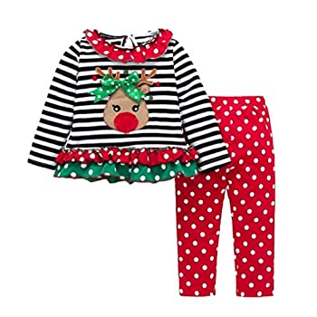 Christmas Outfit Toddler Infant Baby Girls Clothes Set Stripe Ruffle Deer Print Shirt Dress+Pants  Red 2-3T