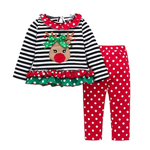 Christmas Outfit Toddler Infant Baby Girls Clothes Set Stripe Ruffle Deer Print Shirt Dress+Pants (Red, 6-12M)