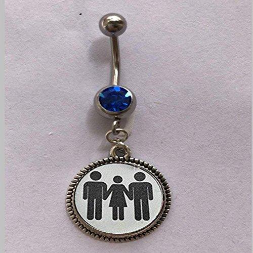 Swinger Jewelry MFM Threesome Kinky Lifestyle - Anillo para ombligo, diseño de esposa caliente