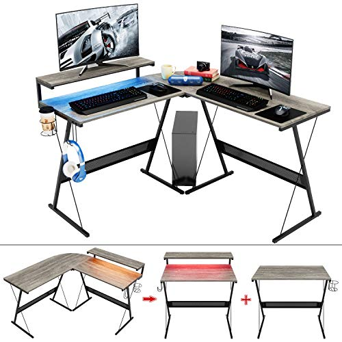 Modern L Shaped Desk with RGB LED Lights,Domy Home Gaming Corner Desk PC Laptop Writing Study Workstation, Space-Saving Large Monitor Stand Desk for Home Office, Easy to Assemble Grey Oak
