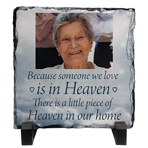 Personalised Because someone we love is in Heaven Rock Slate Photo 15cm x 15cm Add any photo Memorial plaque Funeral Gift idea