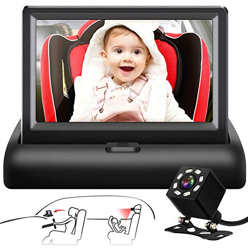 Shynerk Baby Car Mirror, 4.3'' HD Night Vision Function Car Mirror Display, Safety Car Seat Mirror Camera Monitored Mirror with Wide Crystal Clear View, Aimed at Baby, Easily Observe the Baby's Move Facing Mirrors Rear