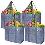 VENO 4 Pack Reusable Grocery Shopping Bag With Reinforced Hard bottom, Strap, Foldable, Stands Upright, Multipurpose Heavy Duty Tote, Utility bag for Everything, Premium Recycled Material (Gray)