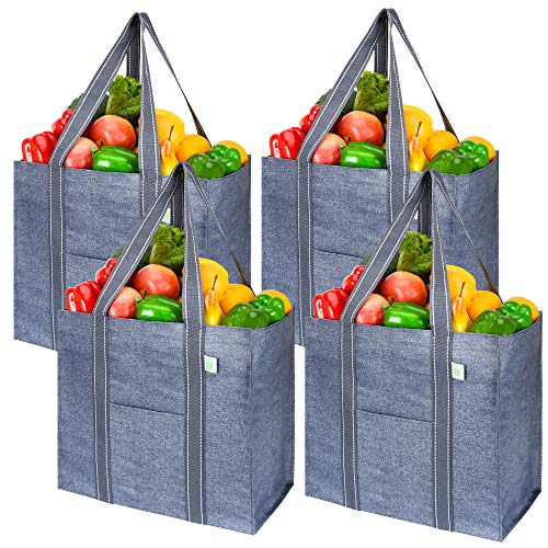 VENO 4 Pack Reusable Grocery Shopping Bag With Reinforced Hard bottom, Strap, Foldable, Stands Upright, Multipurpose Heavy Duty Tote, Utility bag for Everything, Premium Recycled Material (Navy)