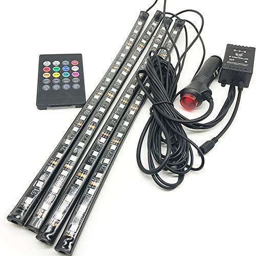 Taben Car LED strip light 4 pcs 72 LED DC 12 V Multicolore Musique de voiture Intérieur lumière LED sous Dash kit d'éclairage avec fonction son Actif, télécommande sans fil et chargeur de voiture