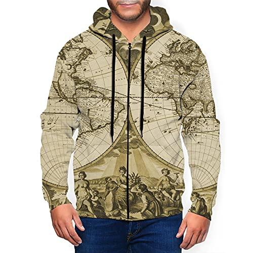 Sudadera con capucha para hombre con cremallera completa con capucha y diseño clásico con capucha, Mapa del mundo del siglo XIX, color negro, XXXL