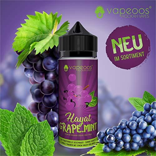 VAPEOOS Premium E-LIQUIDS | HAYAT I Traube Minze | 50ml für E-Zigaretten und E-Shishas | 0mg (ohne Nikotin) I Made in Germany!