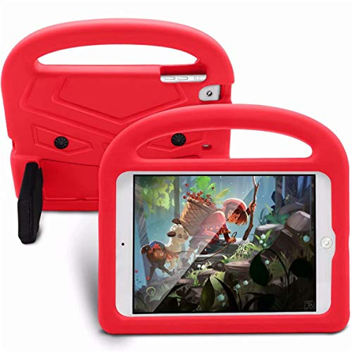 Hfly for iPad Mini 4 Case - Kids Shockproof Silicone Handle Cover Portable Bracket Function Shell Drop Protection Case for iPad Mini 1/2/ 3/4 (7.9') - Red