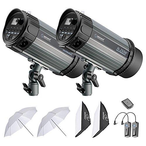 Neewer 500W Kit de Iluminación Flash Estroboscópico - (2)250W Monolight, (2)Softbox, (1)RT-16 Set de Disparador y Receptor Inalámbrico, (2)Paraguas Translúcido para Video y Disparo de Retrato(N-250W)