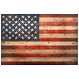 Empire Art Direct American Flag Digital Print on Solid Wood Wall Art, 30' x 45' x 1.5', Ready to Hang