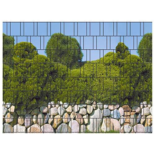 PerfectHD Zaunsichtschutz | 30 Motive | Sichtschutzstreifen für Doppelstabmattenzaun | Windschutz Sonnenschutz Blickdicht | 2,50m x 1,80m | 19cm | 9 Streifen | Mallorca