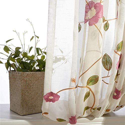 HHJJ Cortinas Garza bordado de algodón y lino pastoral Living Dormitorio Persianas flotantes 1 pieza -50199X1L4J (color: rosa, tamaño: 200 x 270 cm)