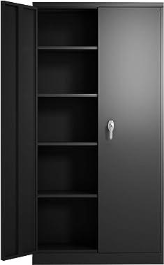 """GREATMEET Metal Storage Cabinet with Locking Doors and 5 Shelves, Office Metal Locking Cabinet with 2 Doors, 70.8"""" H Storage"""