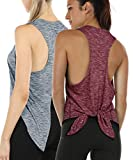 icyzone Workout Tank Top for Women - Tie Back Activewear Exercise Athletic Yoga Tops Running Gym...