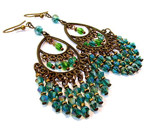Peacock teal blue green chandelier earrings