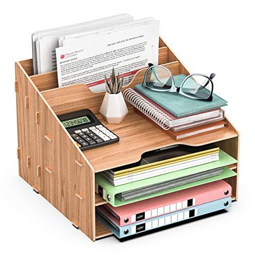 JOPOO Bandeja para cartas de escritorio de oficina, organizador de escritorio de papel A4, soporte para archivos, revistas