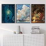 Color : Burgundy, Size : 50x70 CM No Frame inch MXLF Pittura Tela Poster Art Oil Painting Spirited Away Hayao Miyazaki Cinese Giappone Anime Film Wall for Soggiorno Home Decor Quadri