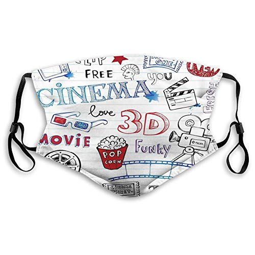 Adults Various Hand Drawn on a Notebook Page Style Backdrop Hollywood Fun Dust Washable Reusable Filter and Mouth Warm Windproof Cotton Face