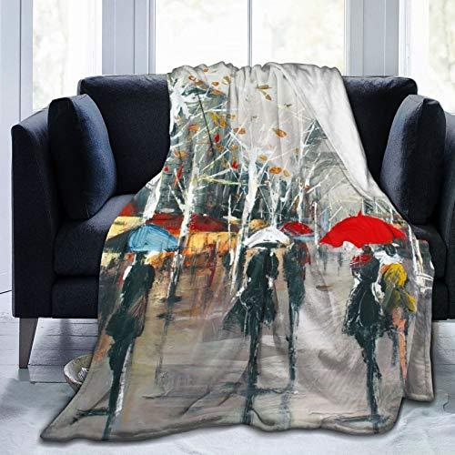Manta de forro polar clásica de franela, resistente a las arrugas, para sala de estar (azulejos coloridos Art Paris, 152 x 201 cm)