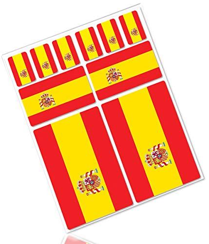 Biomar Labs® 10pcs Pegatina España Spain Flag Bandera Vinilo Adhesivo Coches Cascos...